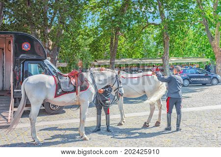 Rome, Italy - May 08, 2017 : Officers Mounted Police Of Rome, Near The Castle Of The Holy Angel Cast
