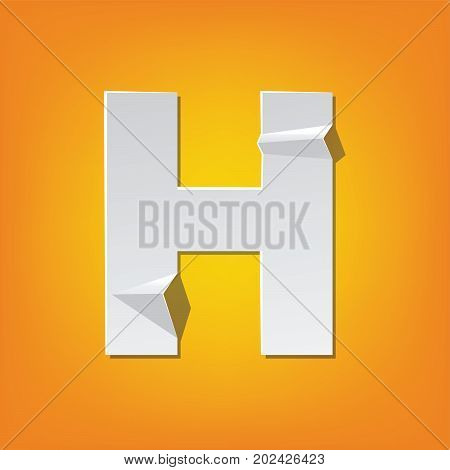 H Capital Letter Fold English Alphabet New Design