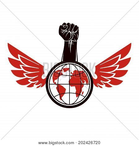 Vector illustration composed with bird wings raised clenched fist and Earth globe. Revolution leader nonconformist concept.