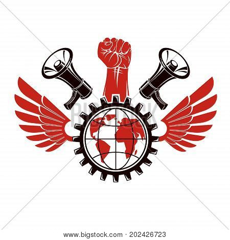 Vector emblem composed with revolutionary clenched fist holding Earth surrounded by gear symbol liberty wings and loudhailers. Propaganda as the means of influence on global public opinion.