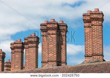 Brick chimney at buildings near Windsor Castle in England