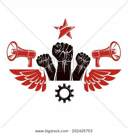 Vector leaflet created using clenched fists raised up megaphone equipment and engineering cog wheel element. Dictatorship and manipulation theme totalitarianism as the evil power.