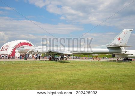 ZHUKOVSKY, RUSSIA - JULY 20, 2017: The Soviet strategic bomber-missile carrier Tu-95MS on the MAKS-2017 air show
