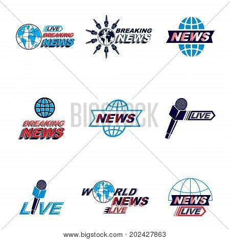 Set of public relations concept and press conference theme vector emblems and posters. Blue Earth journalistic microphones composed with news writing. News and facts reporting.