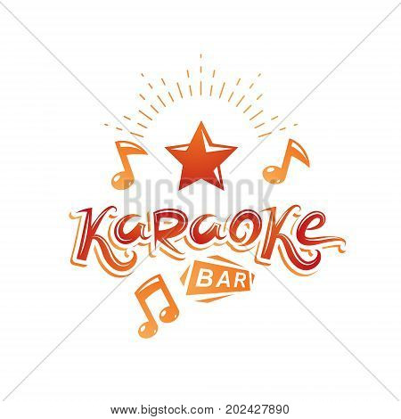 Karaoke bar writing vector emblem created using musical notes and other design elements. Leisure and relaxation lifestyle presentation