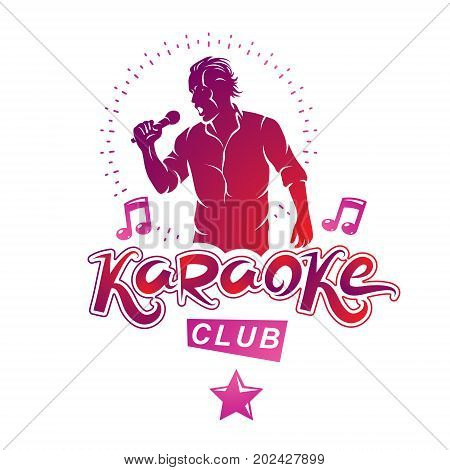Vector illustration of content man singing soloist holds a microphone in hand. Karaoke club feel yourself famous superstar.