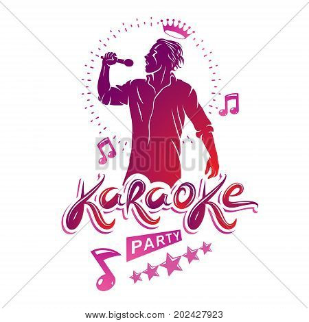 Karaoke party flyers vector cover design created using musical notes stars and soloist singing to microphone. Emcee show advertising poster