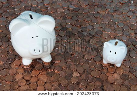 Large and small white piggy banks sitting on hundreds of old and new American pennies. With the collapse of the zinc market the penny has become cheaper to make costing the taxpayer much less.