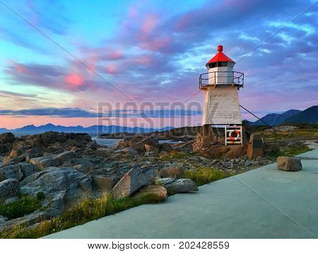 Old lighthouse in Laukvik, Lofoten, Nordland, Norway