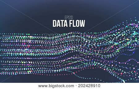 Data flow vector illustration. Digital information noise stream. Blockchain binary structure