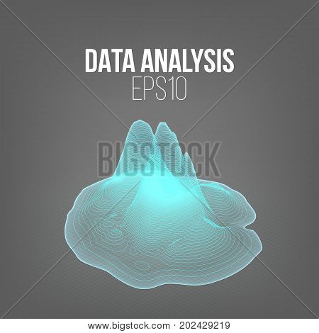 Data analysis diagramm. 3d vector land hologram. Futuristic infographic illustration