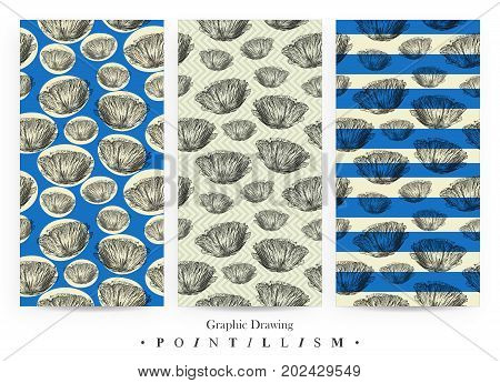 Set of seamless patterns with Poppy flowers and blue stripes isolated on yellow background. Graphic drawing pointillism technique. Botanical natural collection. Floral illustration drawn by hand