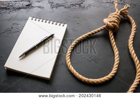 Concept Of Suicide - Note And Rope Loop