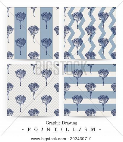 Set of seamless patterns with rose flowers and blue stripes isolated on white background. Graphic drawing pointillism technique. Botanical natural collection. Floral illustration drawn by hand