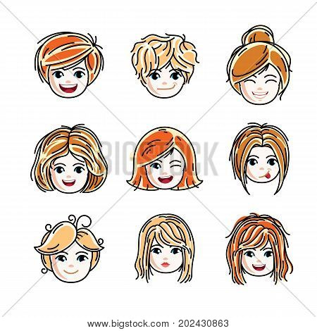Collection of cute smiling girls faces expressing positive emotions vector human head illustrations. Set of red-haired and blonde teenage girls with beautiful face features clipart.