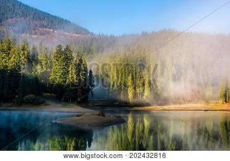 mountainous lake with small island reflects an environment of misty spruce forest on hillsides. stunning landscape with thick fog among the trees at fresh autumn sunrise