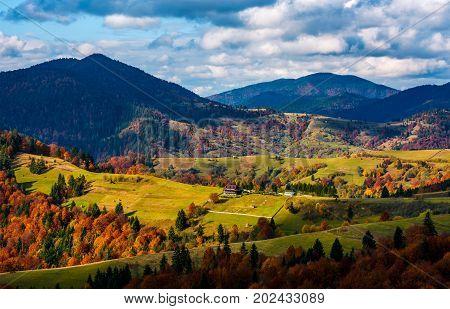 Magnificent Mountainous Landscape In Autumn