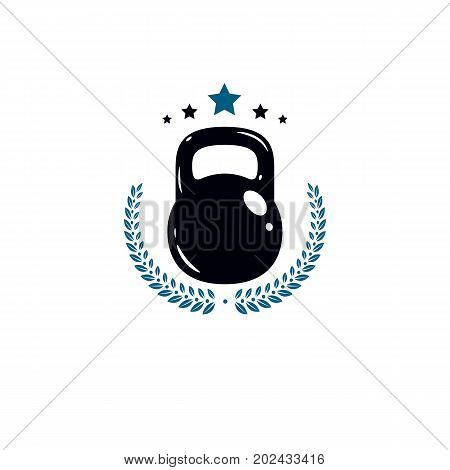Gym and fitness logo template vintage style vector emblem. With kettlebell.