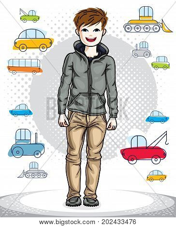 Beautiful happy young teenager boy posing in stylish casual clothes. Vector pretty nice human illustration. Childhood lifestyle clip art.