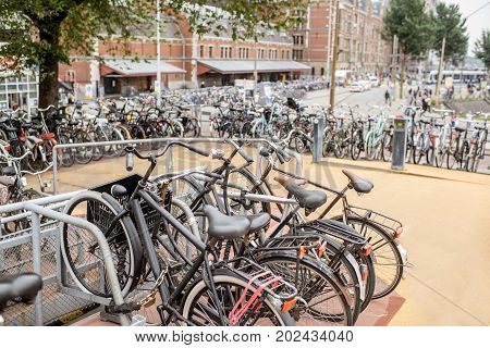 Multilevel bicycle parking near the central station in Amsterdam city