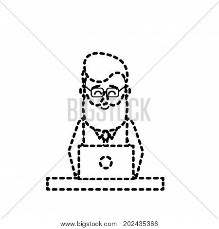 dotted shape profesional businessman with laptop and corporate job vector illustration