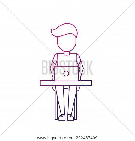silhouette profesional businessman with laptop and corporate job vector illustration
