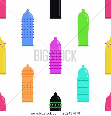 Seamless pattern with the image of condoms.Multicolored condoms of different shape and texture.