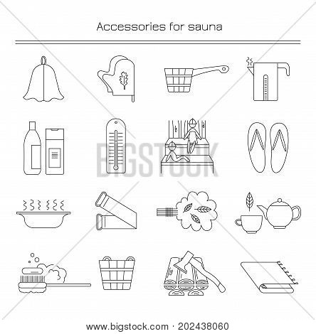 Linear icons with the image of accessories for baths and saunas.