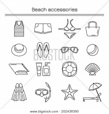 Accessories for a beach holiday. Beach accessories. Linear icons.