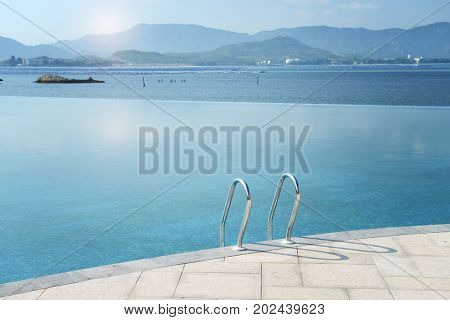 Swimming pool entrance. Pool with fresh water