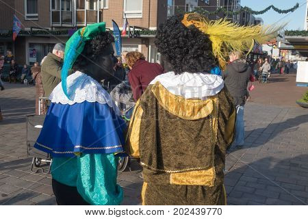 The Hague the Netherlands - 26 November2016: Black piet or zwarte piet celebrating arrival of Dutch Santa Clause Sinterklaas