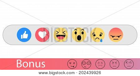 Set emoji like social icon. Button for expressing emotions on the Internet. Flat vector illustration. Range to assess the emotions of your content. Feedback in form of emotions.