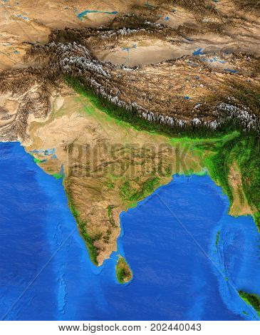 Map of India. Detailed satellite view of the Earth and its landforms. Elements of this image furnished by NASA