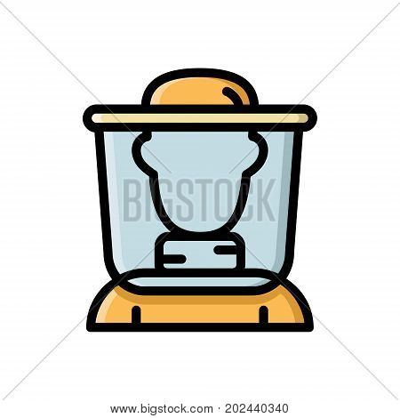 Beekeeper, apiculturist, bee honey farmer in protective clothing, thin line flat style icon, vector illustration isolated on white background. Flat style thin line icon of beekeeper, bee honey farmer
