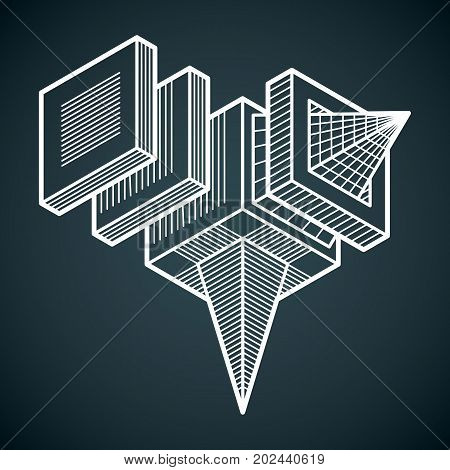 Abstract vector isometric dimensional shape made using geometric figures.