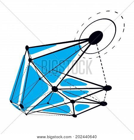 Abstract geometric 3D wireframe object digital technology vector illustration.