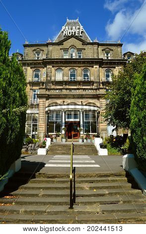 Buxton Derbyshire England UK Europe - August 28 2017 : Palace Hotel in Buxton the Gateway to the Peak District