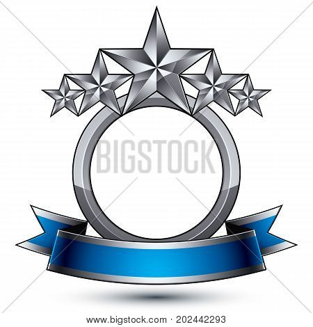 Heraldic 3d glossy blue and gray icon - can be used in web and graphic design five-pointed silver stars placed over rounded magnificent element with elegant ribbon clear EPS 8 vector.