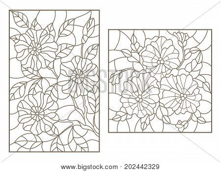 Set contour illustrations of stained glass with flowers a Pansy and a branch of a flowering tree