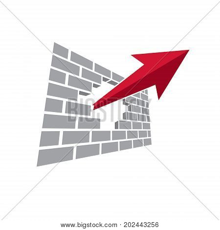 Vector upward trend of business development. Corporate start up logo boost up arrow isolated on white background. Company innovation concept.