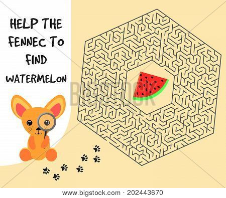 Hexagon education Maze or labyrinth game for children with fennec and watermelon. Vector illustration. EPS 10