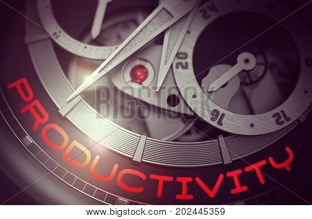 Productivity on the Automatic Men Pocket Watch, Chronograph Up Close. Automatic Watch with Productivity on the Face, Symbol of Time. Work Concept with Lens Flare. 3D Rendering.