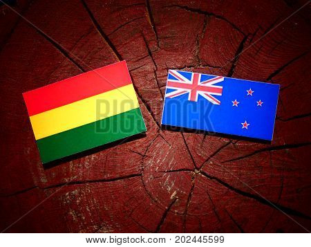 Bolivian Flag With New Zealand Flag On A Tree Stump Isolated