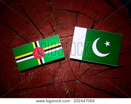 Dominica Flag With Pakistan Flag On A Tree Stump Isolated