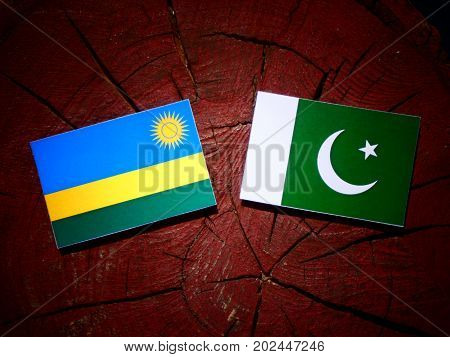 Rwanda Flag With Pakistan Flag On A Tree Stump Isolated