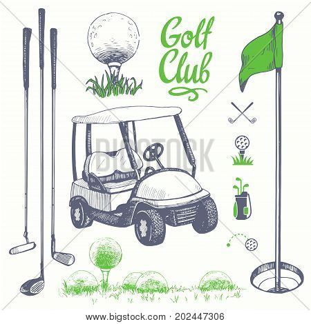 Golf set with basket, shoes, car, putter, ball, gloves, flag, bag. Vector set of hand-drawn sports equipment. Illustration in sketch style on white background. Handwritten ink lettering.