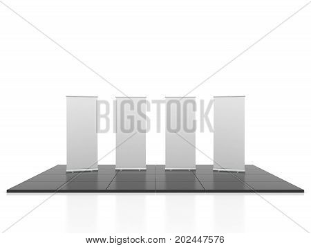 Blank trade show booth mock up rollups. 3D illustration
