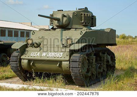 MOSCOW REGION RUSSIA - JULY 30 2006: M3 Stuart formally Light Tank M3 is an American light tank of World War II the Tank Museum Kubinka near Moscow