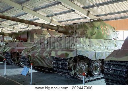 MOSCOW REGION RUSSIA - JULY 30 2006: German heavy Tiger II of World War II the Tank Museum Kubinka near Moscow