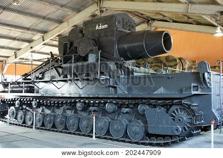 MOSCOW REGION RUSSIA - JULY 30 2006: German self-propelled siege mortar Adam used in World War II Tank Museum Kubinka near Moscow